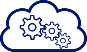 Cloud Auto-scaling depicted using connected cogs inside a cloud