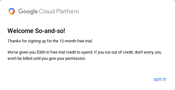 Signup complete at Google Cloud